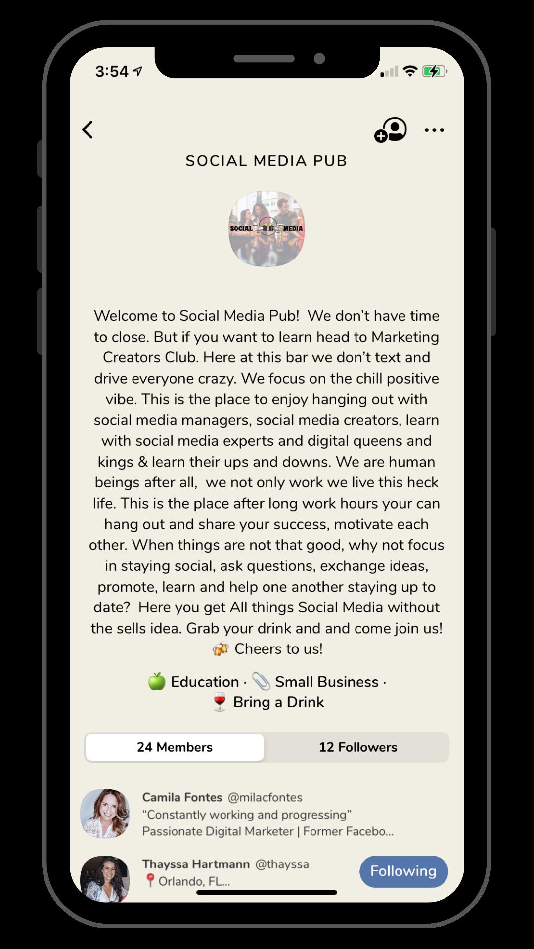 social media pub club